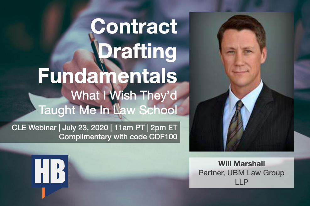 Image of Will Marshall - Contract Drafting Fundamentals Webinar Banner